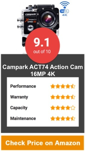 Campark ACT74 Action Cam 16MP 4K