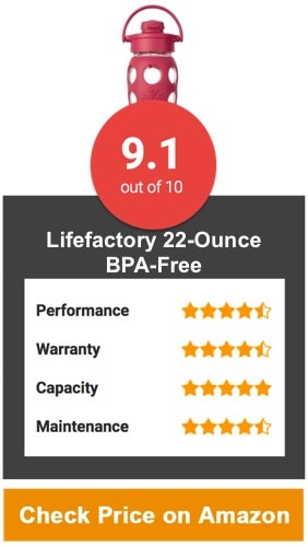 Lifefactory 22-Ounce BPA-Free Glass Water Bottle