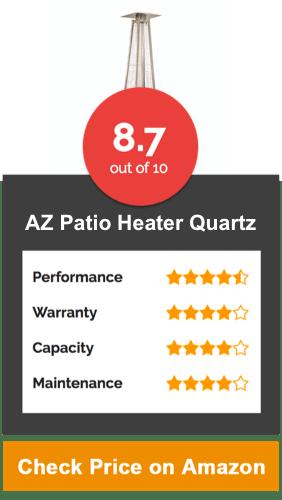 AZ Patio Heater, Quartz Glass Tube in Hammered Bronze