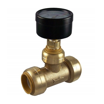 SharkBite 24438 Brass Push-to-Connect Tee with Water Pressure Gauge